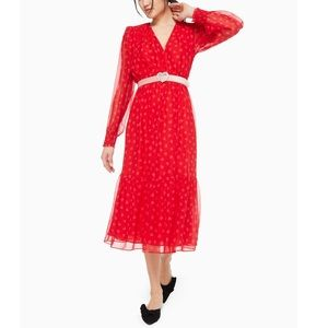 NWT Kate Spade Heartbeat Silk Midi Dress Red SZ-8